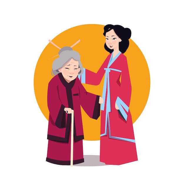 Two asian woman in japanese kimono Premium Vector