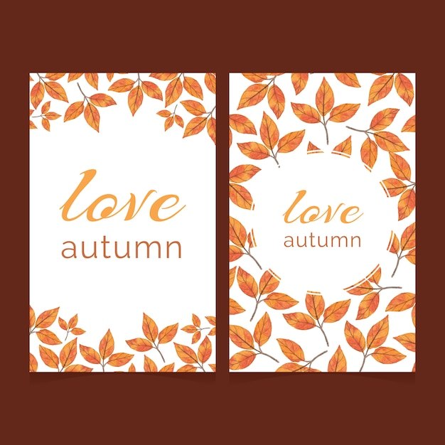 Two autumn cards with bright watercolor leaves Premium Vector