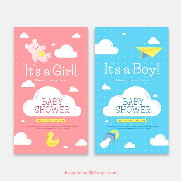 Two baby shower invitation templates