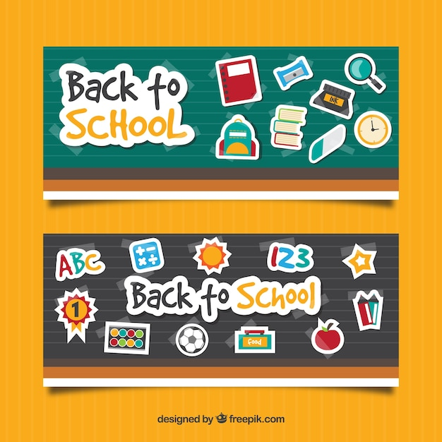 Two back to school banners in flat design