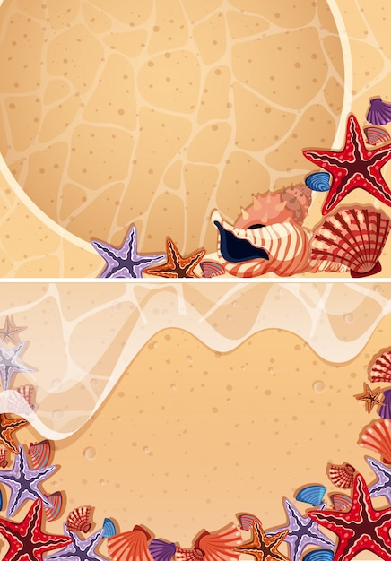ビーチの貝殻の2つの背景 Premiumベクター