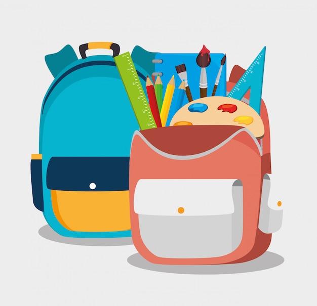 Two backpack school bag design Premium Vector