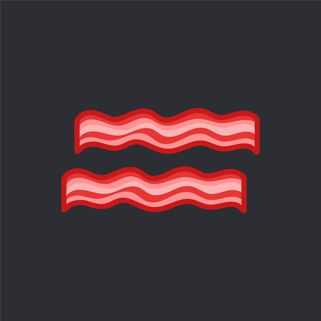 Two bacon slices vector on black background Free Vector