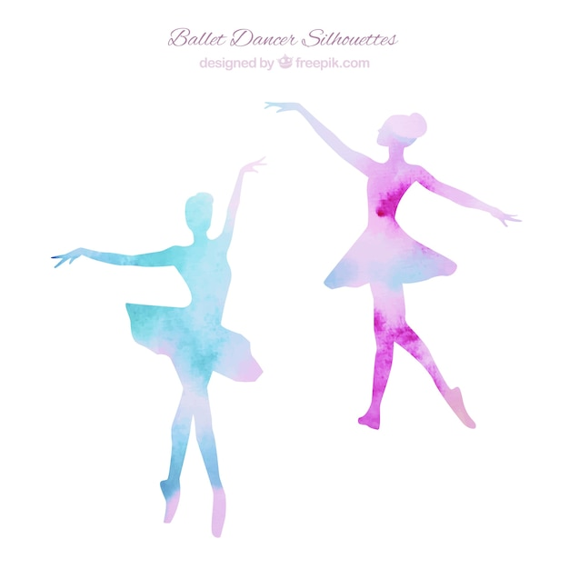 Two ballerinas silhouettes Free Vector