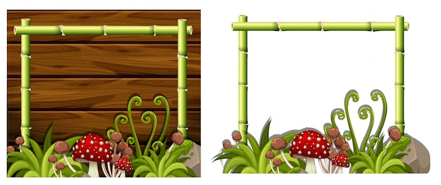 Two bamboo frames with mushrooms Vector   Premium Download
