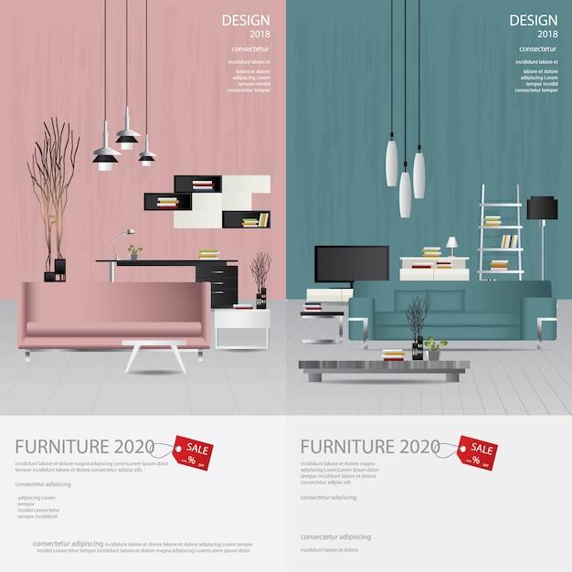 2つのバナーの家具の販売の広告 Premiumベクター