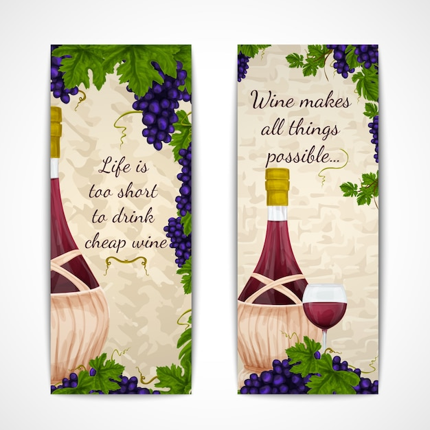 Two banners about wine Free Vector