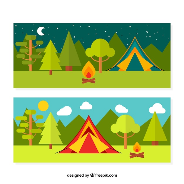 Two banners of camping Vector | Free Download