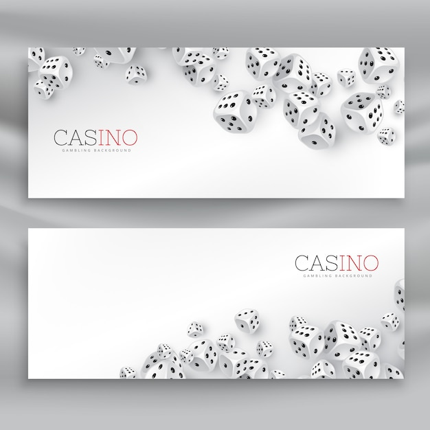 Two banners with floating dice Free Vector