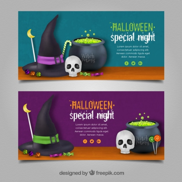 Two banners with horrific potions for halloween Free Vector