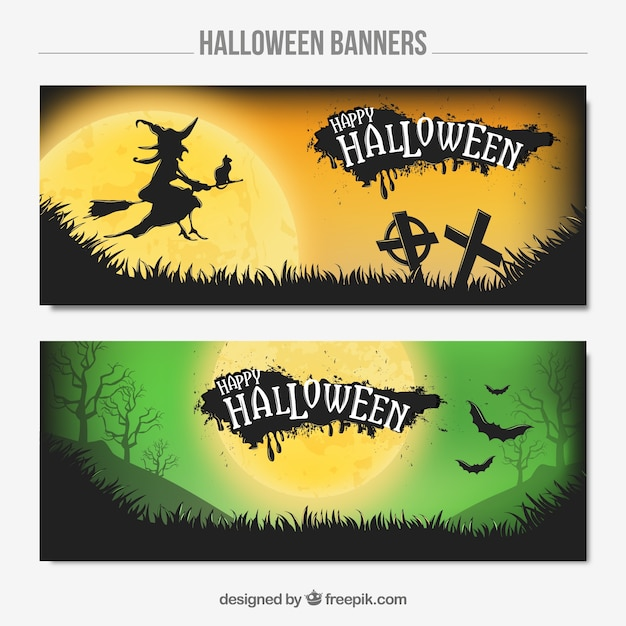 Two banners with a witch and bats for halloween Free Vector