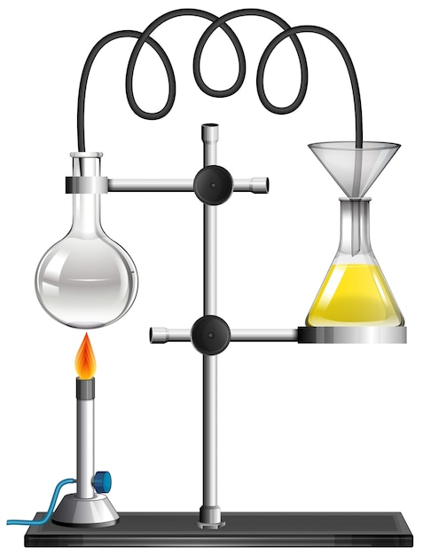 Two beakers on the stand Free Vector