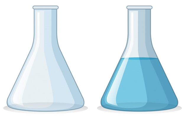 Two beakers with and without water Free Vector