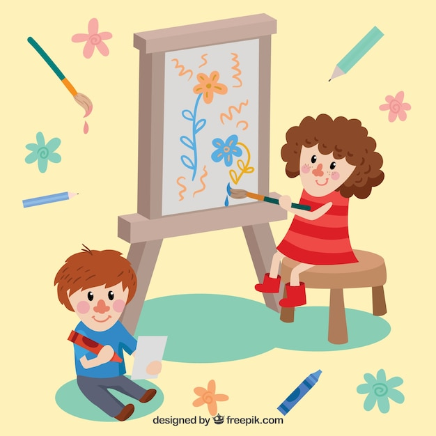 Two beautiful kids painting Vector | Free Download