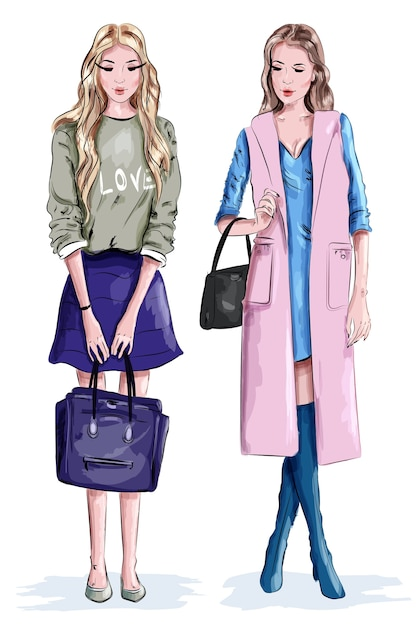 Two beautiful stylish girls with bags Premium Vector