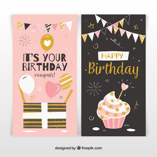 Two birthday cards in black and pink Free Vector