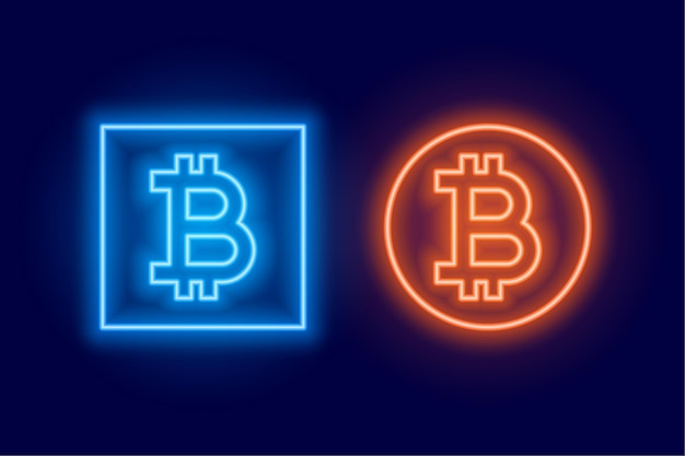 Two bitcoin logo symbol made in neon style Free Vector