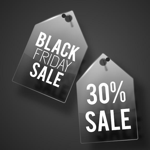 그림자와 흰색 텍스트가있는 벽에 두 개의 검은 금요일 판매 태그 설정 무료 벡터