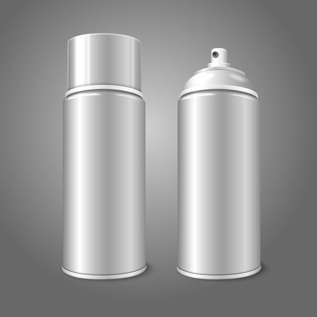 Two blank  aerosol spray metal 3d bottle cans Premium Vector