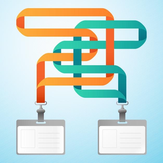 Две пустые пластиковые удостоверения личности с оранжевыми и синими лентами Бесплатные векторы