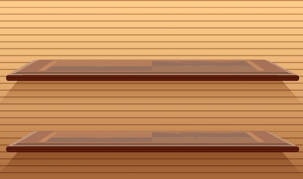 Two blank wall shelves in cartoon style Free Vector