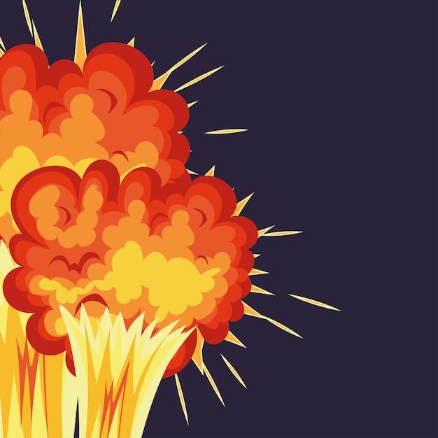 Два взрыва с огненными облаками оранжевого цвета на синем фоне. Premium векторы