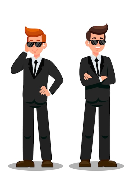 Two bodyguards on assignment cartoon characters Premium Vector