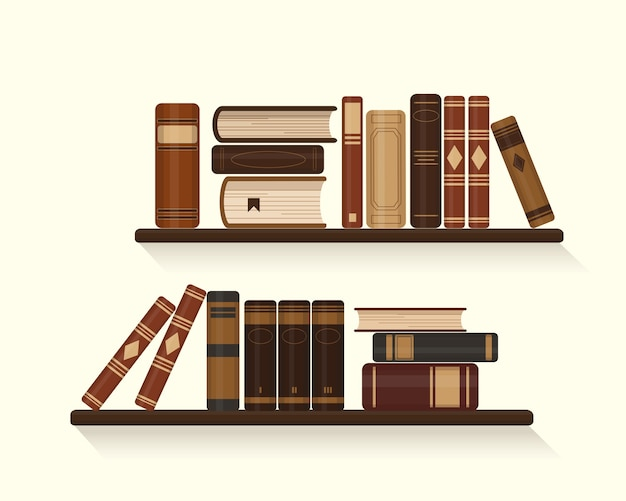 Two bookshelves with old or historical brown books.  illustration. Premium Vector