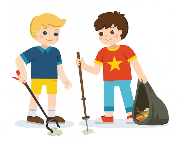 Two boy volunteers holding packets and gathering garbage. happy earth day. save the earth. green day. ecology concept. Premium Vector