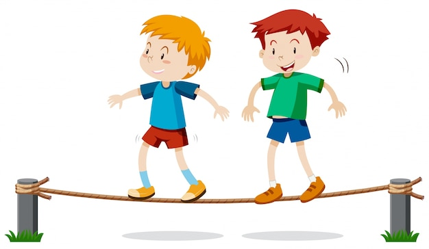 Two boys on balancing rope Free Vector