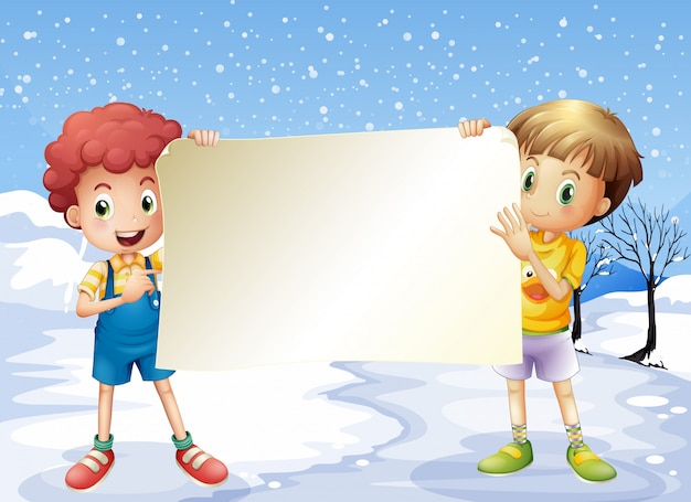 Two boys holding an empty signage Free Vector