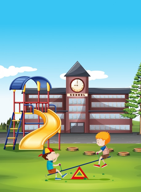 Two boys playing seesaw at school Free Vector