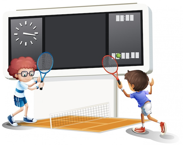 Two boys playing tennis with a big scoreboard Premium Vector