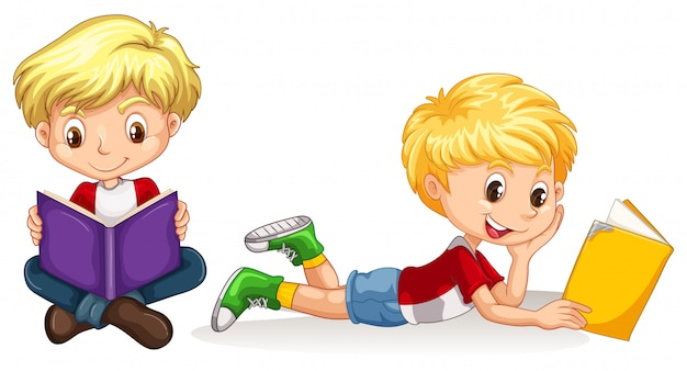 Two boys reading book Free Vector