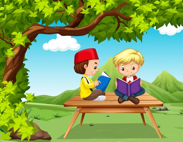 Two boys reading books in the park Free Vector