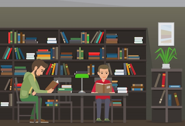 Two boys sit at table and read books in library Premium Vector