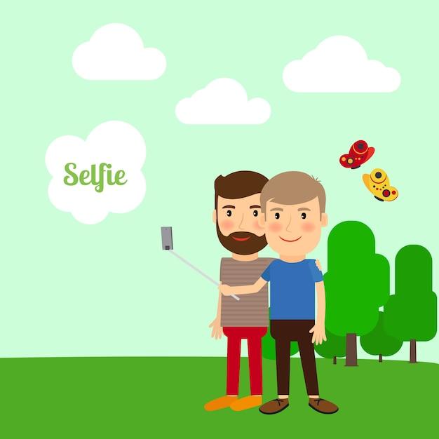 Two boys taking selfie Premium Vector
