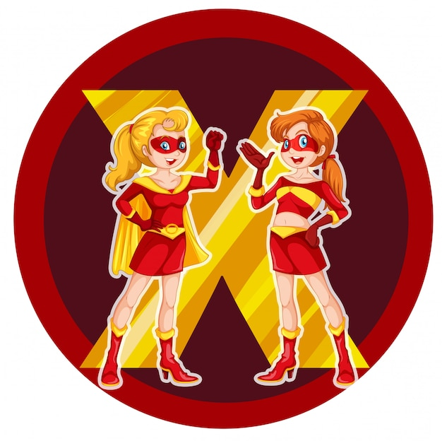 Two brave female superheroes Free Vector