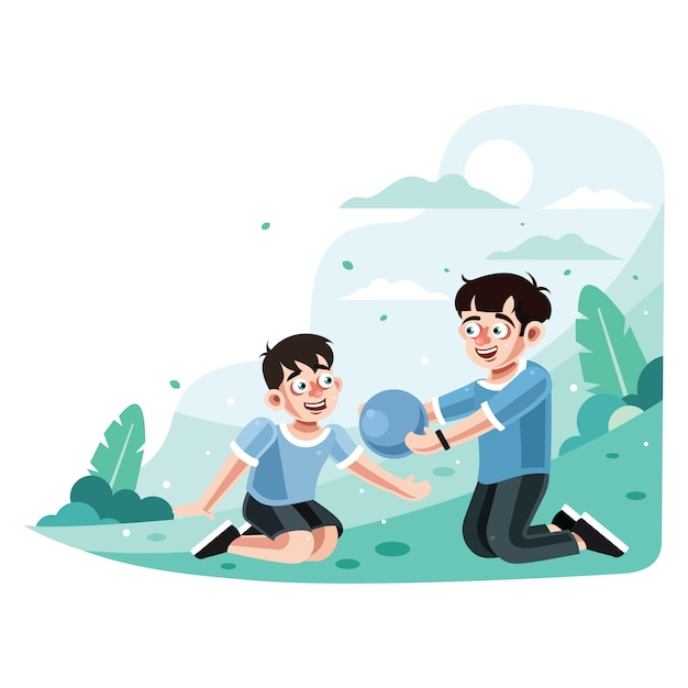 Two brothers playing ball in park Premium Vector