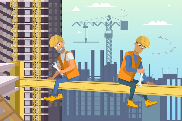 Two builders sit on beam above house construction. Premium Vector