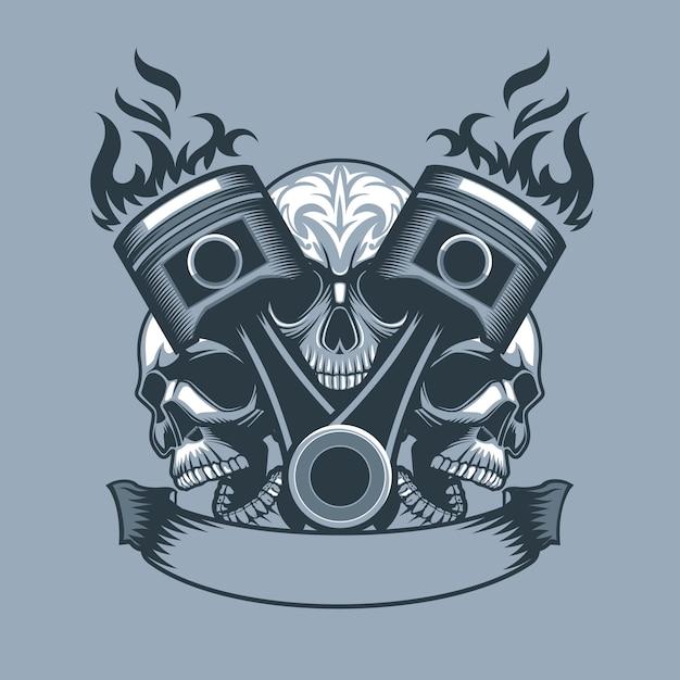 Two burning pistons on three skulls background. monochrome tattoo style. Premium Vector