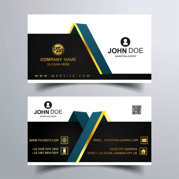 two business cards with gold ornaments vector free download