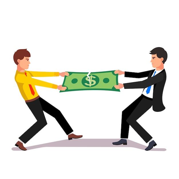 Two business man fighting over a market income Free Vector