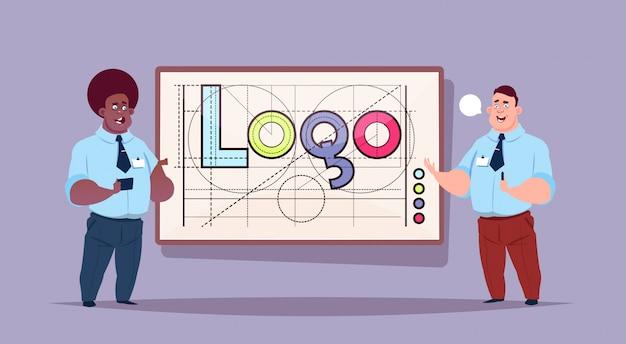 로고 단어 창조적 인 그래픽 디자인을 통해 두 사업가 프리미엄 벡터