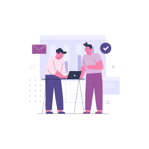 Two business men working together as a team Premium Vector