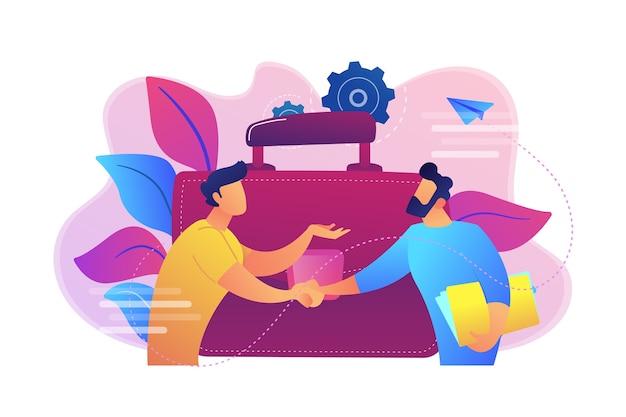 Два деловых партнера пожимают друг другу руки и иллюстрация большого портфеля Бесплатные векторы