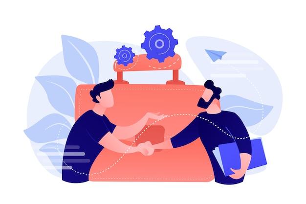 Due soci d'affari che agitano le mani e una grande valigetta. partenariato e accordo, cooperazione e affare completato il concetto su sfondo bianco. Vettore gratuito