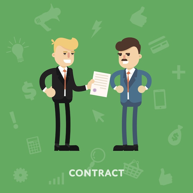 Two business partners signing a document Premium Vector