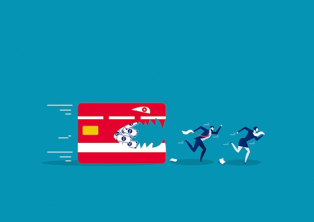 Two business running away from credit card Premium Vector