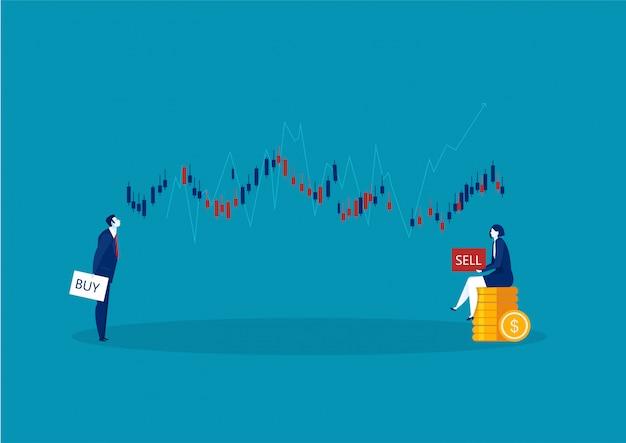 青色の背景にボタンを売買する2つのビジネストレーダーとビジネスローソク足チャート Premiumベクター